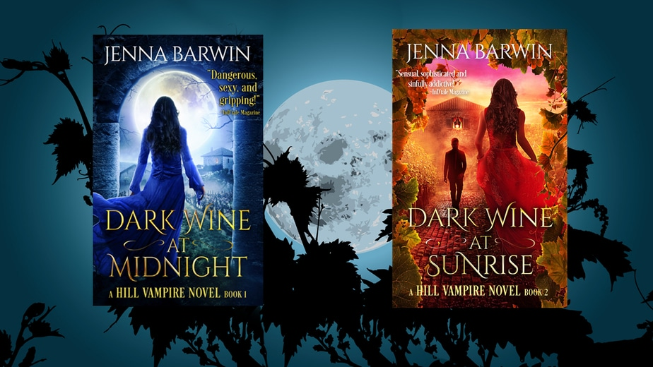 Image of Dark Wine at Midnight / Dark Wine at Sunrise book covers over a full moon at night and grapevines. Image of book cover for Dark Wine at Midnight, a Hill Vampire Novel Book 1, by Jenna Barwin. Image of man standing in front of an arched wall, vineyard and full moon. Image of book cover for Dark Wine at Sunrise, a Hill Vampire Novel Book 2, by Jenna Barwin. Image of a man walking from a stone house toward a woman in red dress, sunrise in the background.