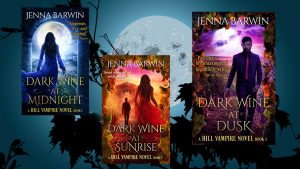Image has three book covers, Dark Wine at Midnight, Dark Wine at Sunrise, and Dark Wine at Dusk, against an image of the moon and grapevines.