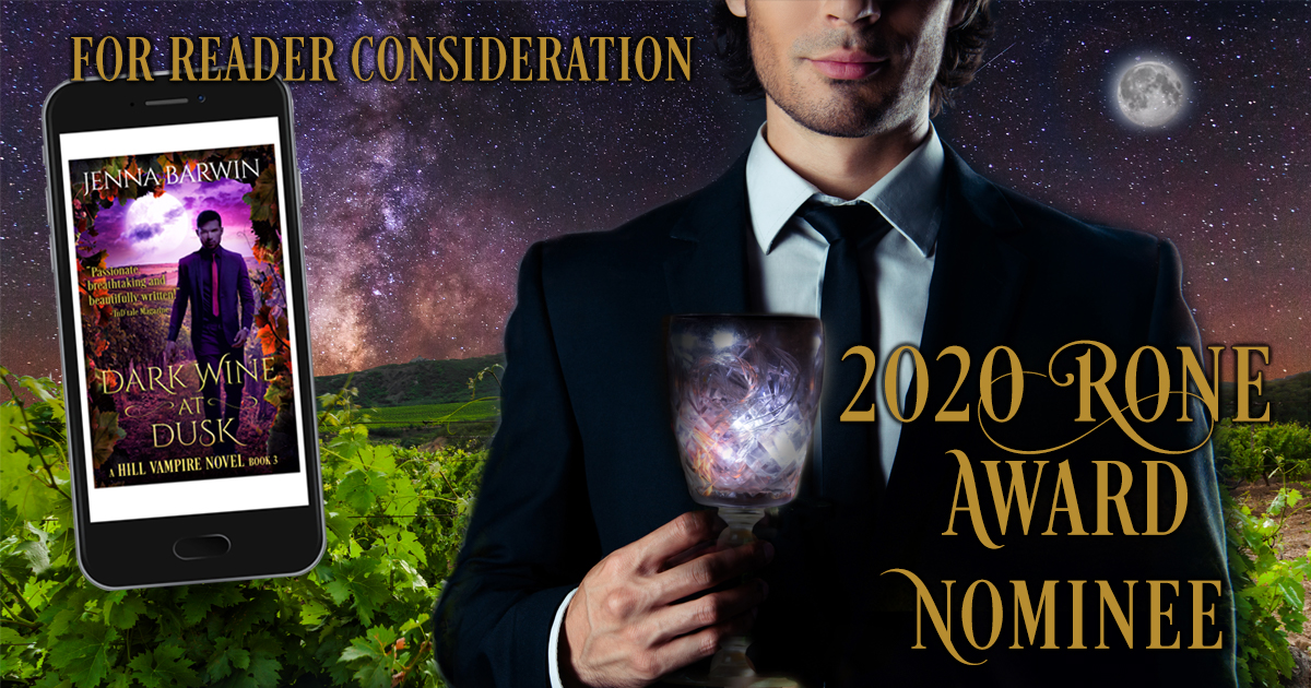 Image of man holding a wine goblet, vineyard in the background. Includes cover of Dark Wine at Dusk, which was nominated for reader consideration for a 2020 Rone Award.
