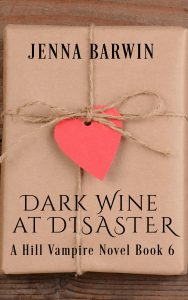 Image of book cover for Dark Wine at Disaster, Hill Vampires series Book 6, by Jenna Barwin. Brown paper wrapper tied with twine and a heart symbol.