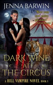 Cover image for Dark Wine at the Circus. Man and woman in front of a circus tent with a tiger.