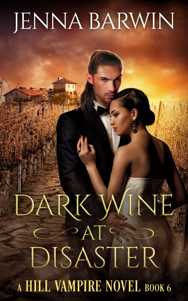 Cover image for Dark Wine at Disaster. Man and woman in formal attire against a drought-stricken vineyard